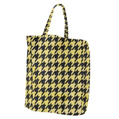 Houndstooth1 Black Marble & Yellow Watercolor Giant Grocery Zipper Tote by trendistuff