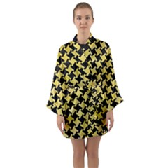 Houndstooth2 Black Marble & Yellow Watercolor Long Sleeve Kimono Robe
