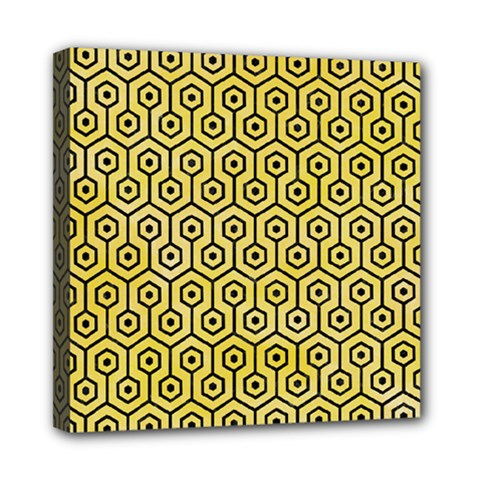 Hexagon1 Black Marble & Yellow Watercolor Mini Canvas 8  X 8  by trendistuff