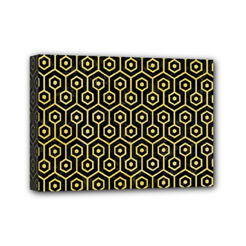 Hexagon1 Black Marble & Yellow Watercolor (r) Mini Canvas 7  X 5  by trendistuff