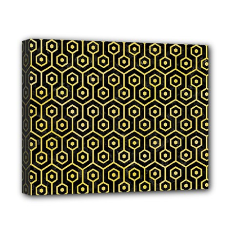 Hexagon1 Black Marble & Yellow Watercolor (r) Canvas 10  X 8  by trendistuff