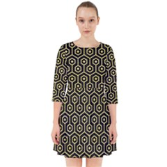 Hexagon1 Black Marble & Yellow Watercolor (r) Smock Dress