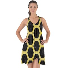 Hexagon2 Black Marble & Yellow Watercolor (r) Show Some Back Chiffon Dress by trendistuff