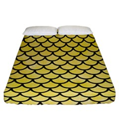 Scales1 Black Marble & Yellow Watercolor Fitted Sheet (california King Size) by trendistuff