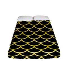 Scales1 Black Marble & Yellow Watercolor (r) Fitted Sheet (full/ Double Size) by trendistuff