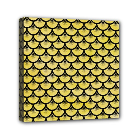 Scales3 Black Marble & Yellow Watercolor Mini Canvas 6  X 6  by trendistuff