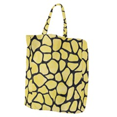 Skin1 Black Marble & Yellow Watercolor (r) Giant Grocery Zipper Tote by trendistuff