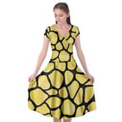 Skin1 Black Marble & Yellow Watercolor (r) Cap Sleeve Wrap Front Dress