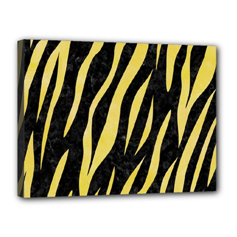 Skin3 Black Marble & Yellow Watercolor (r) Canvas 16  X 12  by trendistuff