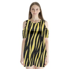 Skin3 Black Marble & Yellow Watercolor (r) Shoulder Cutout Velvet One Piece