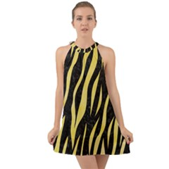 Skin3 Black Marble & Yellow Watercolor (r) Halter Tie Back Chiffon Dress by trendistuff