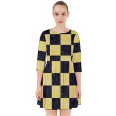 Square1 Black Marble & Yellow Watercolor Smock Dress