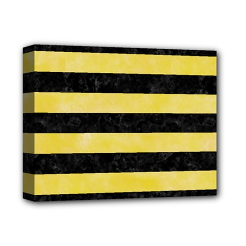 Stripes2 Black Marble & Yellow Watercolor Deluxe Canvas 14  X 11  by trendistuff