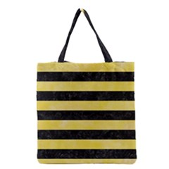 Stripes2 Black Marble & Yellow Watercolor Grocery Tote Bag by trendistuff
