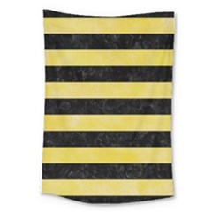 Stripes2 Black Marble & Yellow Watercolor Large Tapestry by trendistuff