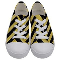 Stripes3 Black Marble & Yellow Watercolor Kids  Low Top Canvas Sneakers
