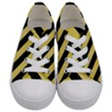 STRIPES3 BLACK MARBLE & YELLOW WATERCOLOR Kids  Low Top Canvas Sneakers View1
