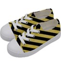 STRIPES3 BLACK MARBLE & YELLOW WATERCOLOR Kids  Low Top Canvas Sneakers View2
