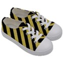 STRIPES3 BLACK MARBLE & YELLOW WATERCOLOR Kids  Low Top Canvas Sneakers View3