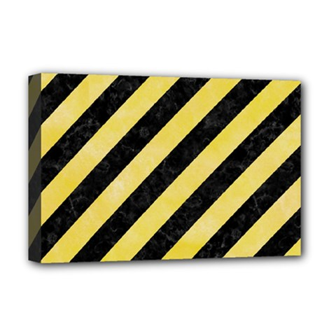 Stripes3 Black Marble & Yellow Watercolor (r) Deluxe Canvas 18  X 12   by trendistuff