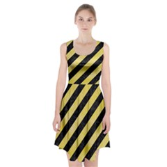 Stripes3 Black Marble & Yellow Watercolor (r) Racerback Midi Dress by trendistuff