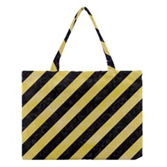 Stripes3 Black Marble & Yellow Watercolor (r) Medium Tote Bag by trendistuff