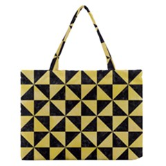 Triangle1 Black Marble & Yellow Watercolor Zipper Medium Tote Bag by trendistuff