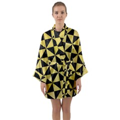 Triangle1 Black Marble & Yellow Watercolor Long Sleeve Kimono Robe