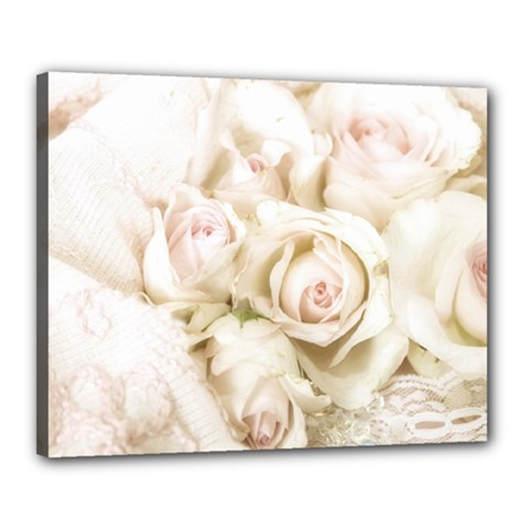Pastel Roses Antique Vintage Canvas 20  X 16  by Celenk