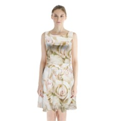 Pastel Roses Antique Vintage Sleeveless Waist Tie Chiffon Dress