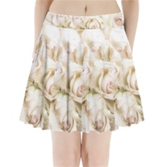 Pastel Roses Antique Vintage Pleated Mini Skirt by Celenk