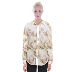 Pastel Roses Antique Vintage Womens Long Sleeve Shirt