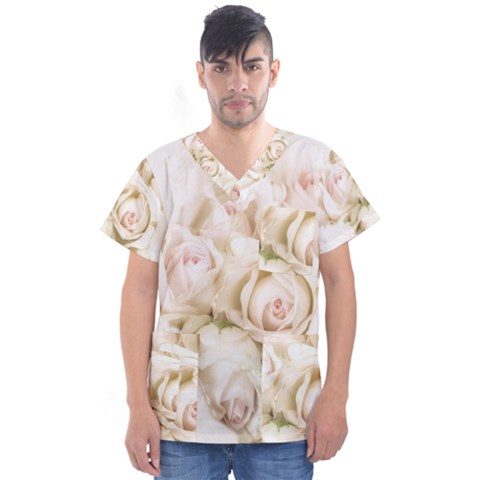 Pastel Roses Antique Vintage Men s V-neck Scrub Top by Celenk