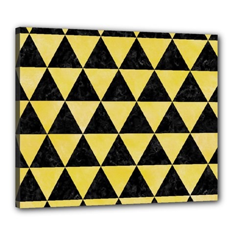 Triangle3 Black Marble & Yellow Watercolor Canvas 24  X 20  by trendistuff