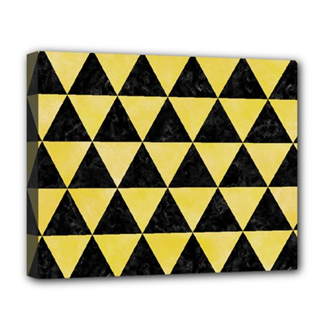 Triangle3 Black Marble & Yellow Watercolor Deluxe Canvas 20  X 16