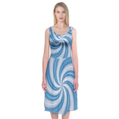 Prismatic Hole Blue Midi Sleeveless Dress