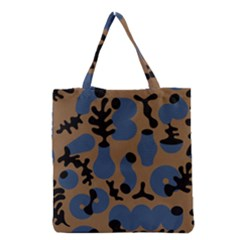 Superfiction Object Blue Black Brown Pattern Grocery Tote Bag by Mariart