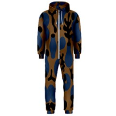 Superfiction Object Blue Black Brown Pattern Hooded Jumpsuit (men)