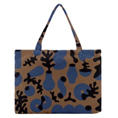 Superfiction Object Blue Black Brown Pattern Zipper Medium Tote Bag by Mariart