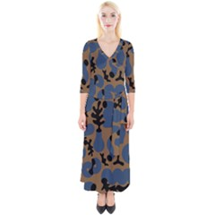 Superfiction Object Blue Black Brown Pattern Quarter Sleeve Wrap Maxi Dress