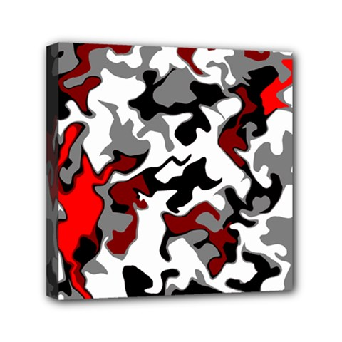 Vector Red Black White Camo Advance Mini Canvas 6  X 6  by Mariart