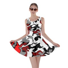 Vector Red Black White Camo Advance Skater Dress
