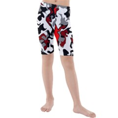 Vector Red Black White Camo Advance Kids  Mid Length Swim Shorts by Mariart