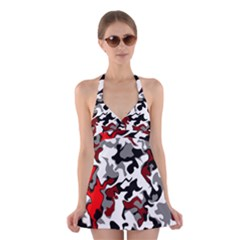 Vector Red Black White Camo Advance Halter Dress Swimsuit  by Mariart