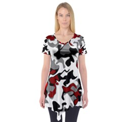 Vector Red Black White Camo Advance Short Sleeve Tunic