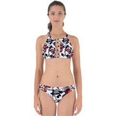 Vector Red Black White Camo Advance Perfectly Cut Out Bikini Set by Mariart