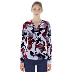 Vector Red Black White Camo Advance V Neck Long Sleeve Top