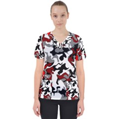 Vector Red Black White Camo Advance Scrub Top