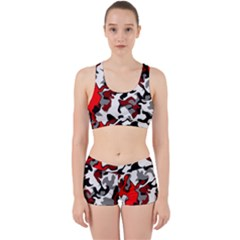 Vector Red Black White Camo Advance Work It Out Sports Bra Set by Mariart