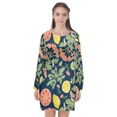 Summer Fruite Orange Lemmon Tomato Long Sleeve Chiffon Shift Dress  by Mariart
